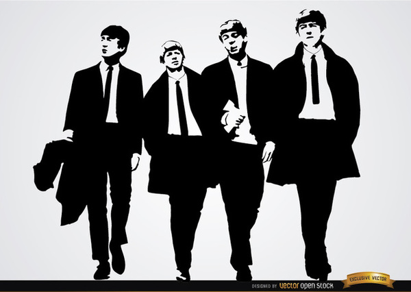 The Beatles Band Wallpaper Free Vector