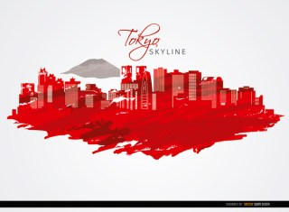 Tokyo Buildings Skyline Background Free Vector