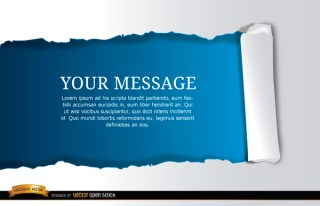 Torn Horizontal Blue Scroll Message Free Vector