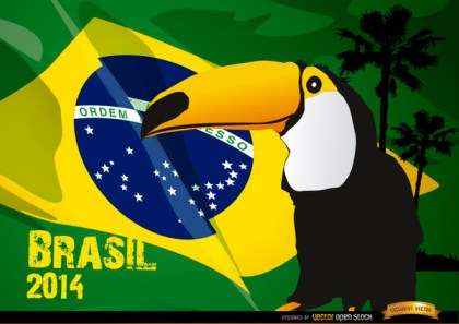 Toucan and Brasil Flag 2014 Free Vector
