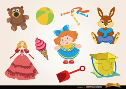 Toys Dolls and Teddies Set Free Vector