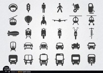 Transport Icon Set Free Vector