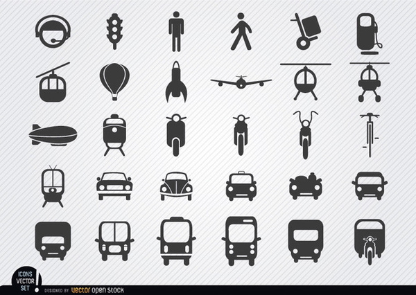 Transport Icon Set Free Vector