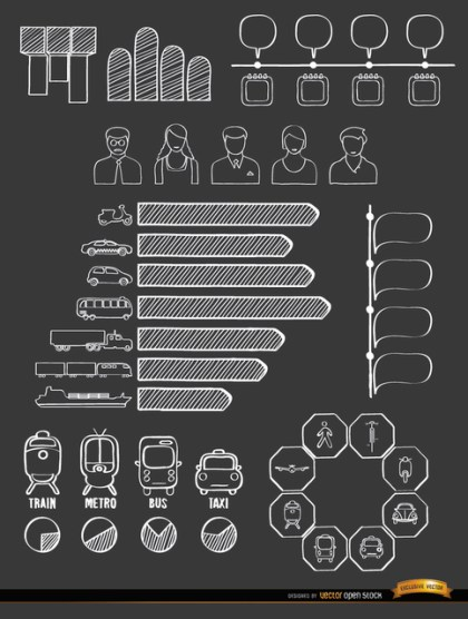 Transport Means Doodle Infographics Free Vector