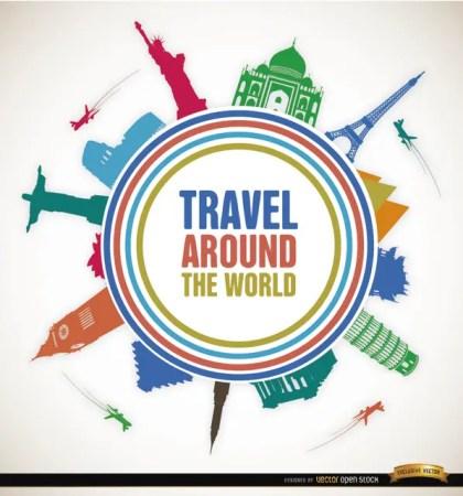 Travel World Landmarks Promo Free Vector
