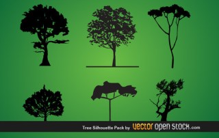 Tree Silhouette Pack Free Vector