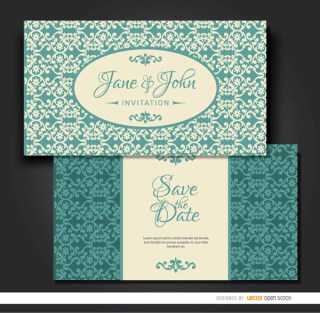 Turquoise Floral Marriage Invitation Free Vector