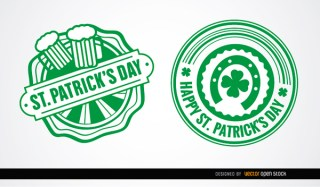 Two St. Patricks Round Badges Free Vector