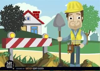 Under Construction Barricade Man with Shovel Free Vector