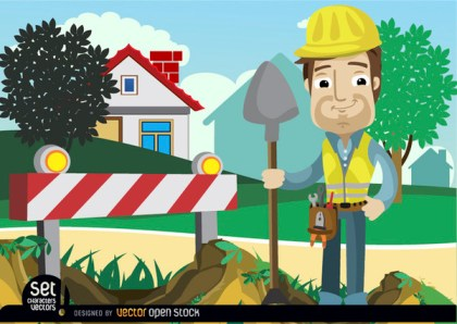 Under Construction Barricade Man with Shovel Free Vector