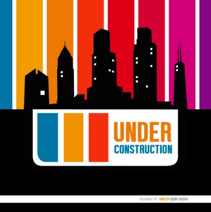 Under Construction Buildings Skyline Free Vector