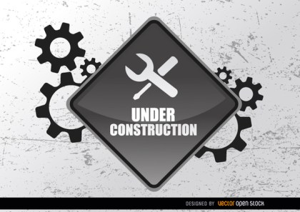 Under Construction Sign Gears Free Vector