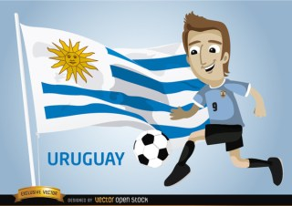 Uruguayan Football Player with Flag Free Vector
