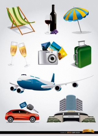 Vacation Tourism Elements Set Free Vector