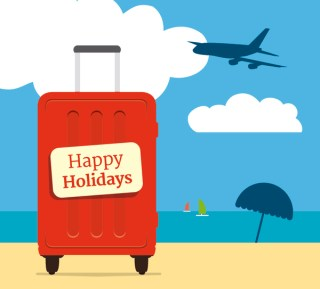 Vacations Suitcase Beach Background Free Vector