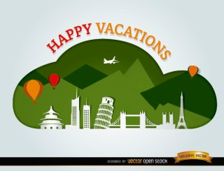 Vacations Traveling World Landmarks Background Free Vector