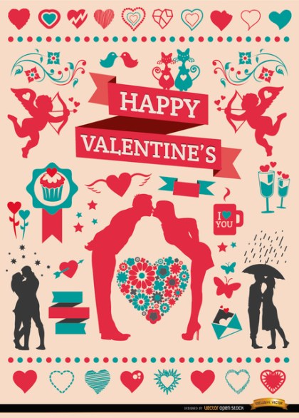Valentine'S Celebration Elements Set Free Vector