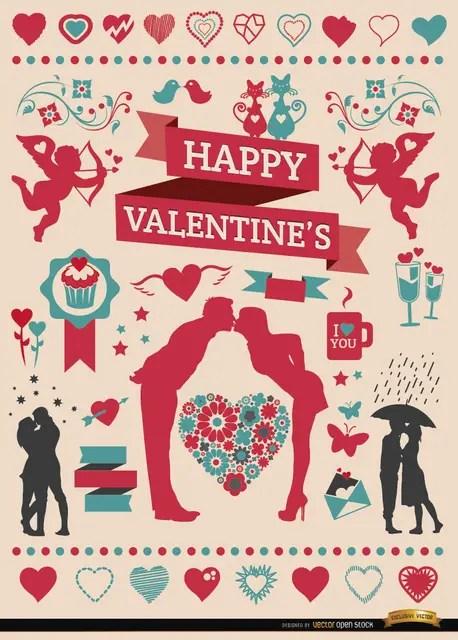 Valentine'S Celebration Elements Set Free Vector