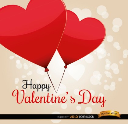 Valentines Day Heart Balloons Card Free Vector
