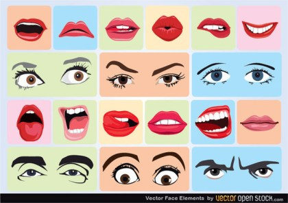 Vector Face Elements Free Vector