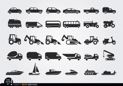 Vehicles and Ships Silhouettes Icon Set Free Vector