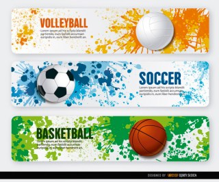 Volleyball Basketball Soccer Grunge Banners Free Vector