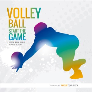Volleyball Girl Colorful Silhouette Background Free Vector