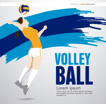 Volleyball Player Girl Background Free Vector