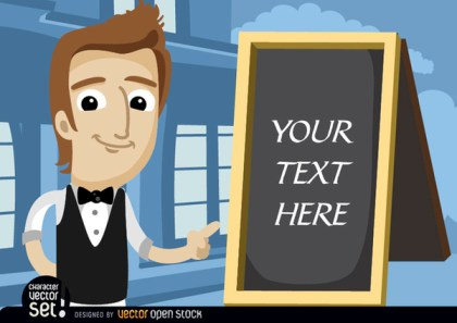 Waiter Pointing Menu Board Text Free Vector