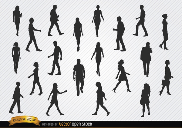 Walking People Silhouettes Set Free Vector