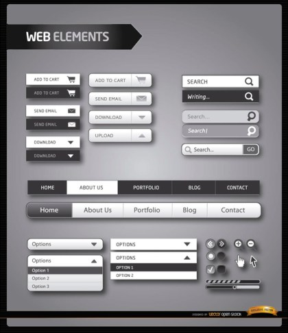 Website Menu Elements Black and White Free Vector