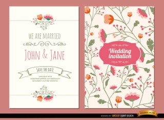 Wedding Invitations with Flowers Free Vector