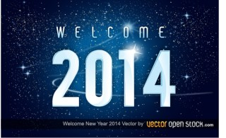 Welcome New Year 2014 In Space Background Free Vector