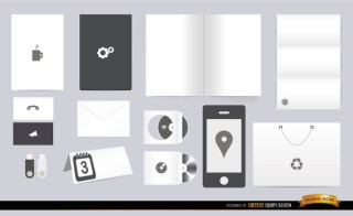 White Black Stationery Elements Free Vector