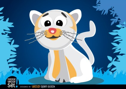 White Cat Cartoon Animal Free Vector