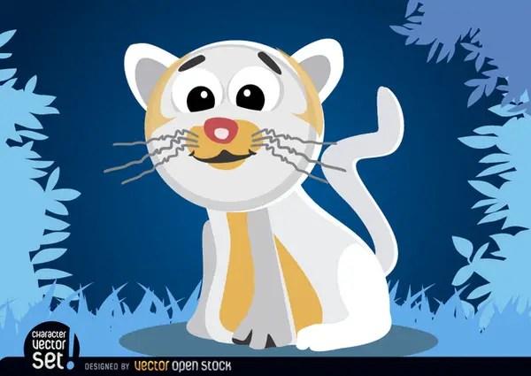 White Cat Cartoon Animal Free Vector