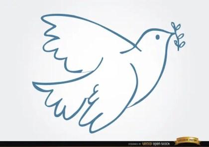 White Dove Laurel Peace Symbol Free Vector