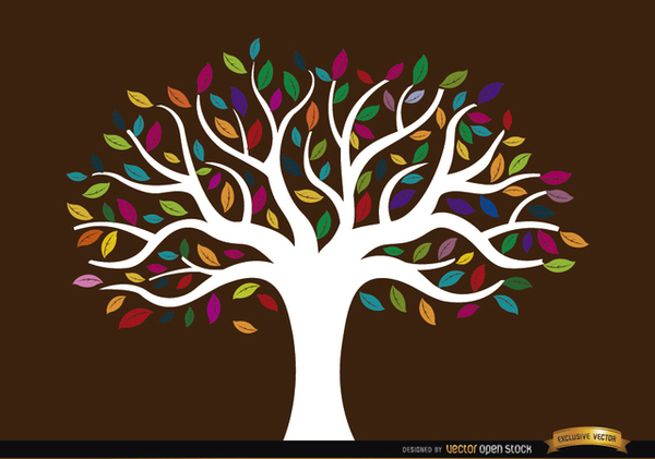 White Trunk Tree with Colored Leaves Free Vector