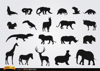 Wild Animal Silhouettes Free Vector