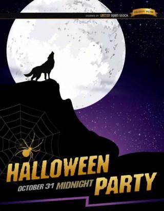 Wolf Howl Full Moon Halloween Poster Free Vector