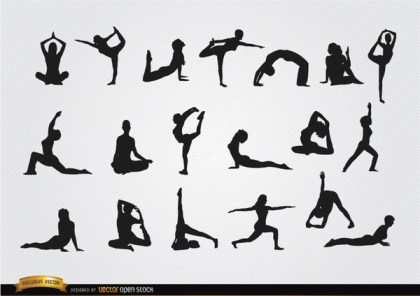Women Doing Yoga Silhouettes Free Vector