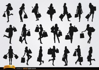 Women Shopping Silhouettes Free Vector