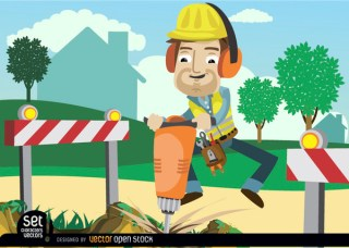 Worker Drilling Ground with Barricades Free Vector