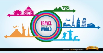 World Landmarks Collage Silhouettes Free Vector