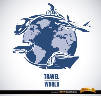 World Travel Transport Means Vector Free Vector
