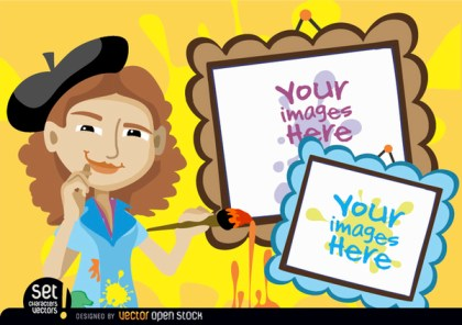 Young Artist Woman with Picture Frames Free Vector