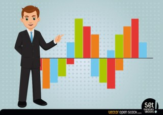 Young Businessman Showing Bar Graph Free Vector