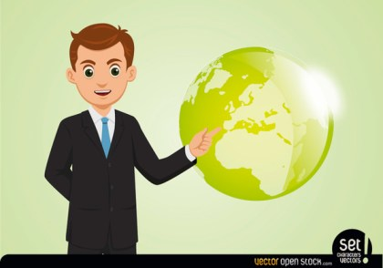Young Businessman Showing Globe Free Vector