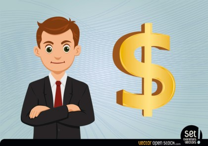 Young Businessman with Dollar Sign Free Vector