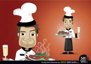 Young Chef Character Set Free Vector